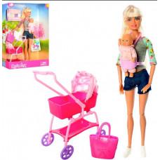 Кукла Дефа Мама с ребенком и коляской