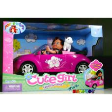 Куколка в кабриолете с питомцами