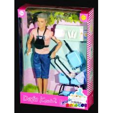Кукла Кевин с ребенком и коляской