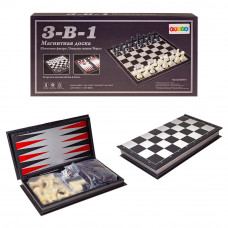 Шахматы 3в1 магнит 19см